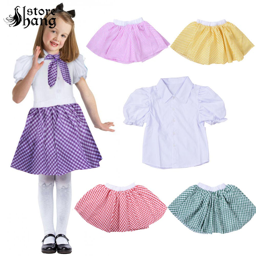 3pcs Kids Girls 1950s Blouse Gingham Skirt Scarf Outfit Retro Fashion Audrey Style Fancy Dress Children's Costume Schoolwear