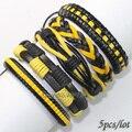 FL8-New 2017 amarelo preto pulseiras bangles (5 pçs/lote) ethnichandmade genuíno pulseira de couro trançado envoltório corda de cânhamo para o presente