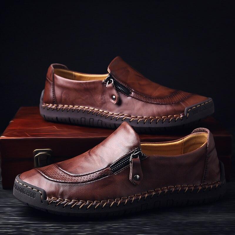 Classic Comfortable Casual Leather Shoes Men Loafers Shoes Split Leather Men Shoes Flats Hot Sale Moccasins Shoes Plus Size 4