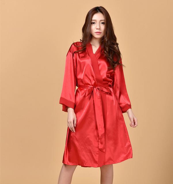 Sexy Charming Red Women's Summer Rayon Chiffon Robes New Style Kimono Bath Gown Lounge Nightgowns Sleepwear One Size BR114