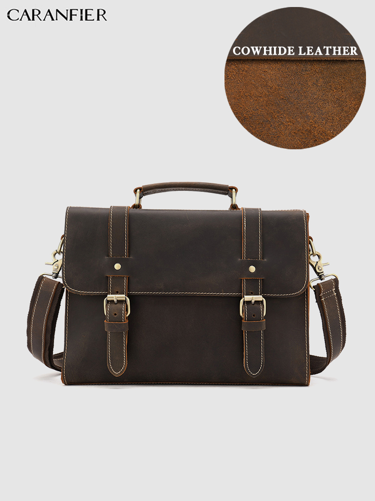 CARANFIER Mens Briefcases Crazy Horse Real Leather Business Handbags Tote Vintage Male Laptop Computer Travel Flap Pocket Bags