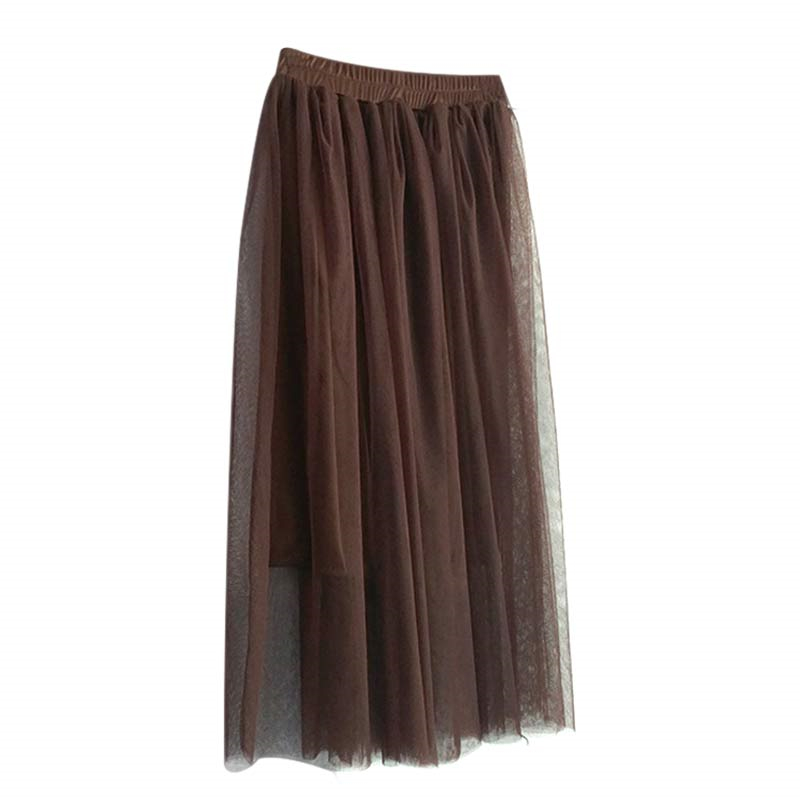 Women Multi Layers Pleated Long Tulle Skirt Straight Solid Mesh Elastic Waist Skirts 2 Wearing Ways IK88