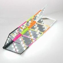 1 pc compacto moda feminina senhoras maquiagem espelho dobrável portátil bolso compacto com 8 luzes led ferramenta de maquiagem presente agradável