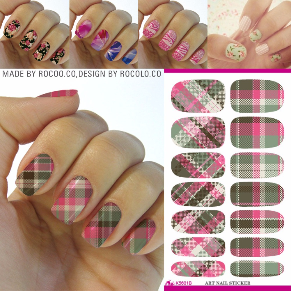 Rocooart Classic Plaid Nail Art Sticker Multi Color Water Transfer Nail Decals Minx Manicure Decoration Styling Tools Nail Wraps rocooart dls377 382 water foils nail art sticker fashion nails cartoon harajuku sailor moon decals minx nail decorations