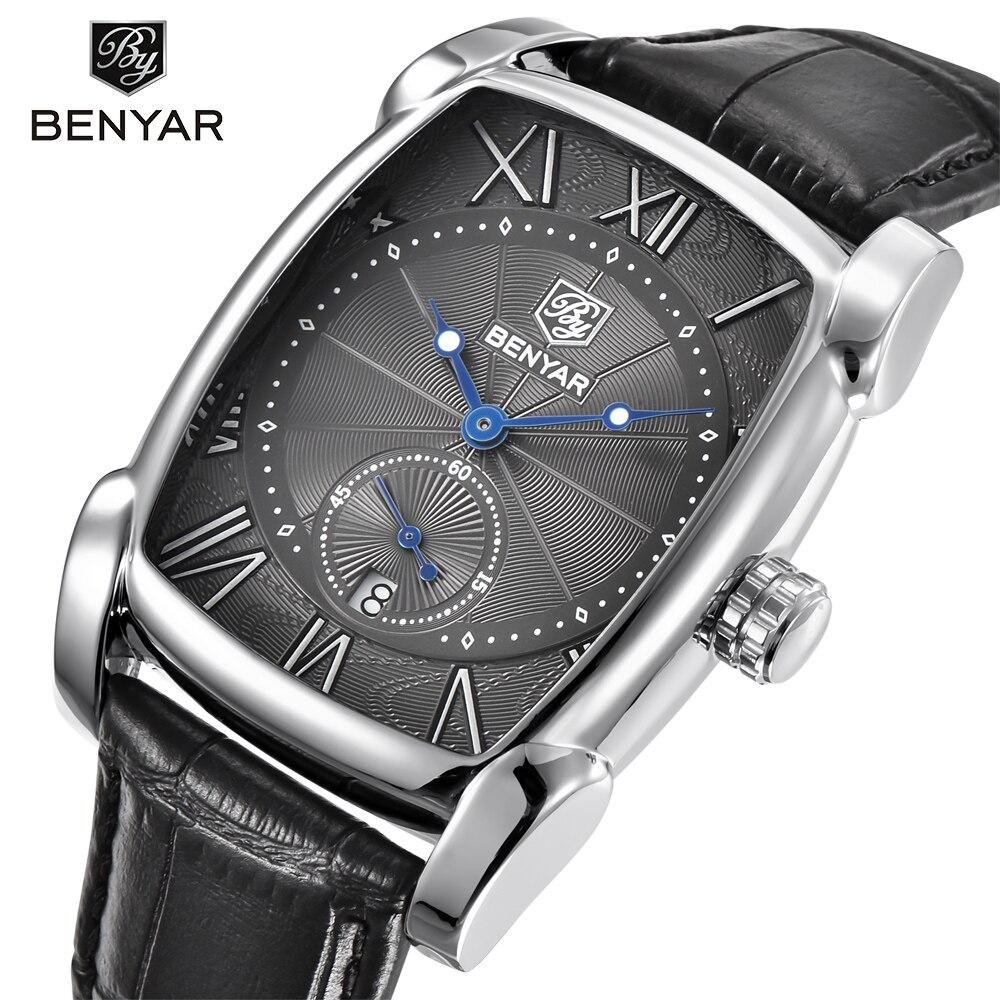 BENYAR Marke Luxus herren Uhr Datum 30 mt Wasserdichte Uhr Männlichen Casual Quarz Uhren Männer Handgelenk Sport Uhr erkek kol saati