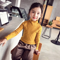 Girls Fashion Twist Knitted Sweaters Children's Knitwear Female Kids Bottoming Sweater Fall Winter Cute Turtleneck Pullovers B62