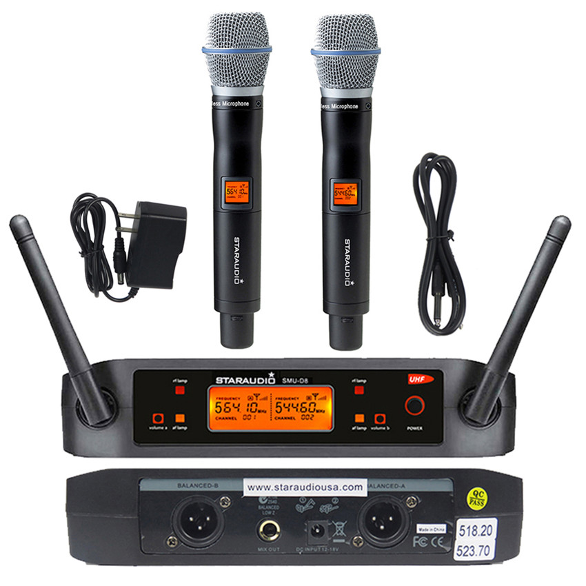 staraudio dual channel microphone system 2ch uhf wireless handheld microphone for church stage. Black Bedroom Furniture Sets. Home Design Ideas