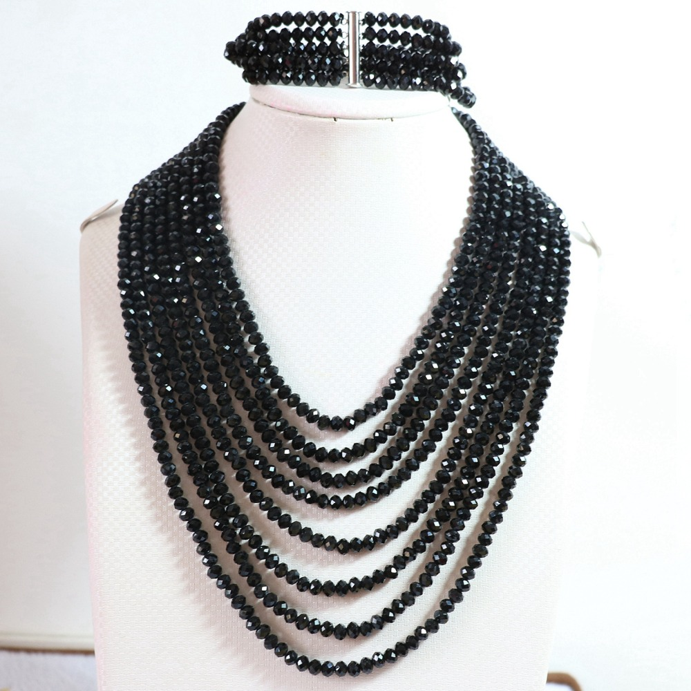 Original design black crystal glass 4*6mm abacus beads 8 rows chain necklace 5 rows bracelet women jewelry set 17-26inch B849