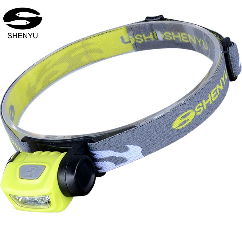 SHENYU Scheinwerfer LED, 3 Modi Scheinwerfer, Batteriebetriebene Helm Licht für Camping, laufen, wandern und Lesen