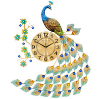 Peacock wall clock living room modern creative continental home simple atmospheric fashion decorative clock mute wall charts
