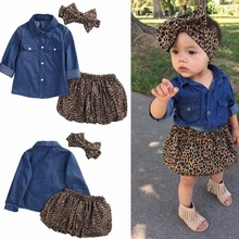 2017 new Children outfits girls cotton Bow headband+Long sleeves Denim shirt+Leopard skirt 3pcs/set baby suits S121