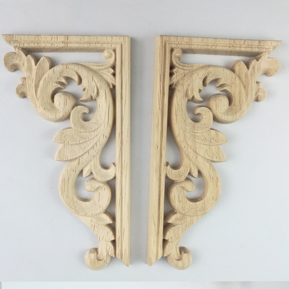 Decorative Wood Appliques Wood Carving Decal Corner Applique Frame Door  Decorate Wall Door Decorative Figurines Wooden Miniature In Figurines U0026  Miniatures ...