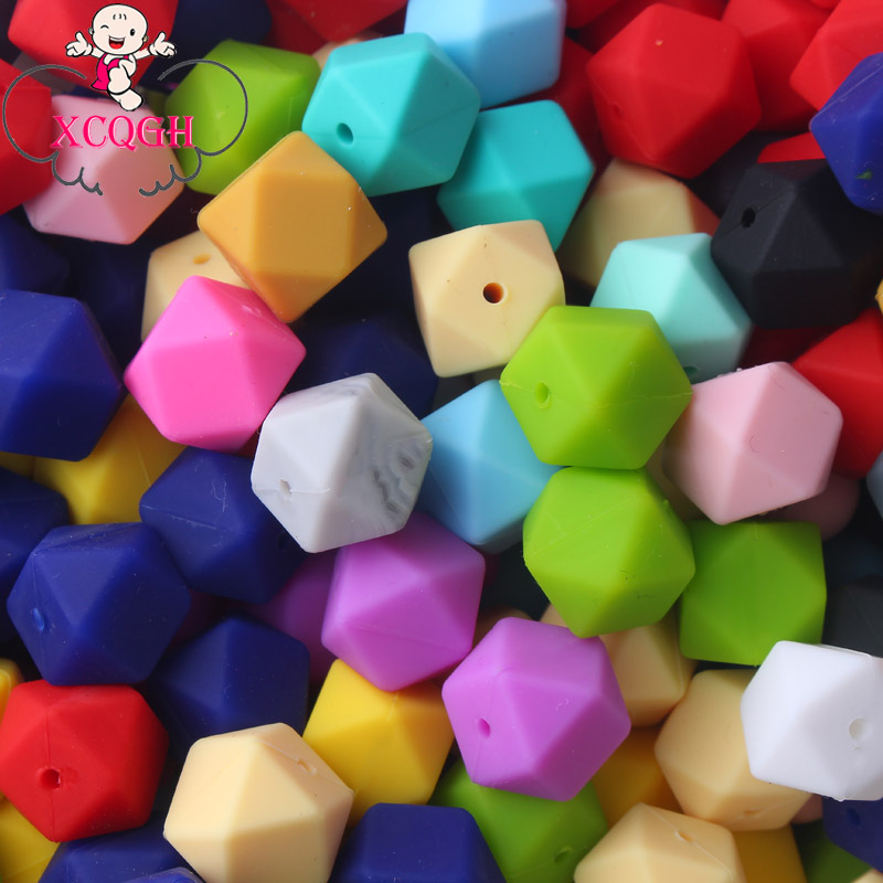XCQGH 10PCS 14mm Silicone Teething Beads Hexagon Baby Teether Bead For DIY Baby Shower Gift Necklace Pacifier Chain