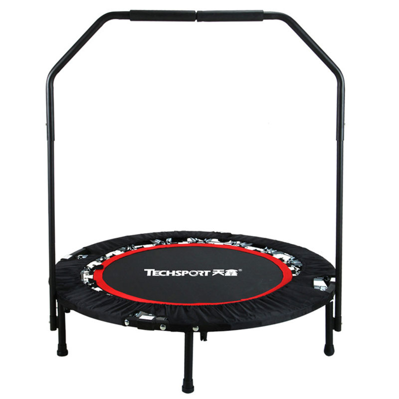 High Quality Foldable Portable Round Professional Fitness Trampoline With Handrail For Indoor GYM Jump Sports Adults Kids Safety