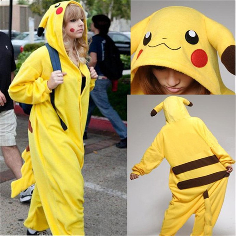 2016 Halloween Cospaly Pokemon Pikachu Costume For Adult Japan Anime Pikachu Flannel Sleepwear Unisex Pajamas