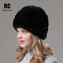 [Rancyword] Flower Winter Womens Hats Real Rex Rabbit Fur Hat Knitted Thicken Warm Natural Beanies For Girls Skullies RC1370