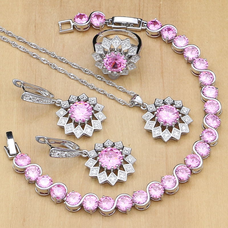 73421a8e9a34 Comprar Sol joyería de plata 925 hermosa rosa cúbicos Zirconia joyería  establece para las mujeres pendientes colgante anillos pulsera collar  Online Baratos