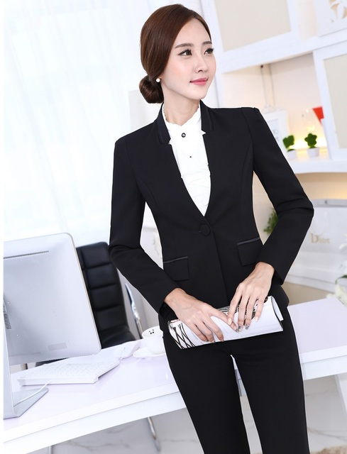 6340a558cfa74 Plus Size 4XL New Fashion 2015 Autumn Winter Professional Business Suits  Blazer And Pants Uniform Styles Ladies Trousers Sets-in Pant Suits from ...