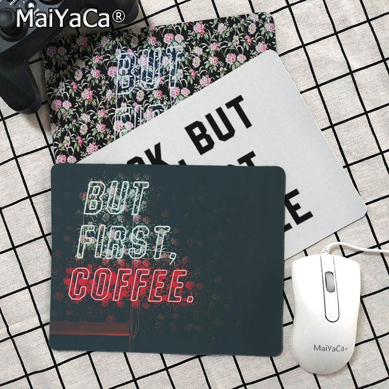 Maiyaca Beautiful Anime Ok But First Coffee Laptop Gaming Mice Mousepad Smooth Writing Pad Desktops Mate Gaming Mouse Pad