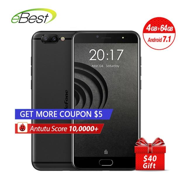 New Ulefone Gemini Pro Mobile Phone Dual Rear Cameras 5.5 inch FHD MTK6797 Deca Core Android 7.1 4GB+64GB 13MP Cam Fingerprint