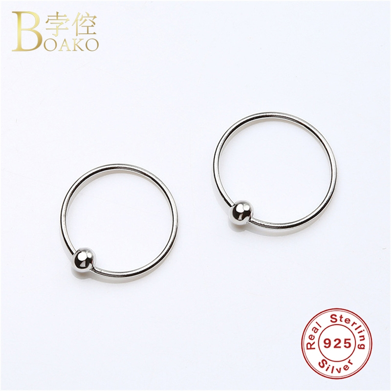BOAKO Hip Hop Mini Small Hoop Earrings For Women 925 Sterling Silver Earrings Small Circle Eardrop Girl Rapper Gothic Jewelry Z5 in Hoop Earrings from Jewelry Accessories