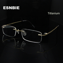 ESNBIE Super Light Rimless Glass Men Optical Slim Eyeglasses Frame Titanium Women Prescription Glasses