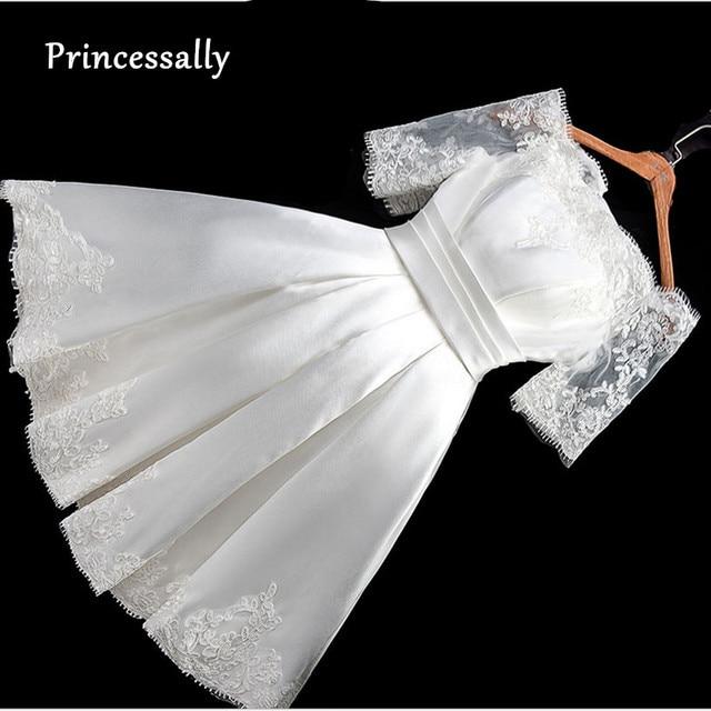 קצר חתונה שמלת סירת צוואר סאטן תחרה חצי שרוול שמלת כלה פשוטה זול Vestido דה Noiva בציר סקסי שמלת כלה