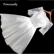 Krótka suknia ślubna dekolt w łódkę satynowa koronka pół rękawa prosta suknia ślubna tanie Vestido De Noiva Vintage seksowna suknia ślubna suknia slubna tanie tanio Princessally Boat neck Kolan NONE Połowa Lace up Satin Koronki aiweier Naturalne -Line REGULAR Suknie ślubne