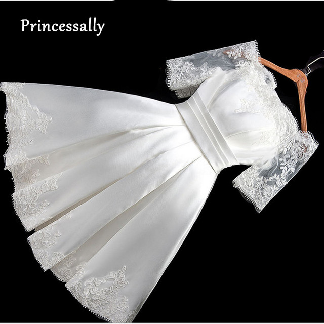 Vestido De Noiva curto Boat Neck Satin Lace Meia Manga Vestido de Casamento Simples Barato Vestido De Noiva Vintage Sexy Vestido de Casamento vestido noiva vestido de noiva curto vestido branco vestido de noiva simples