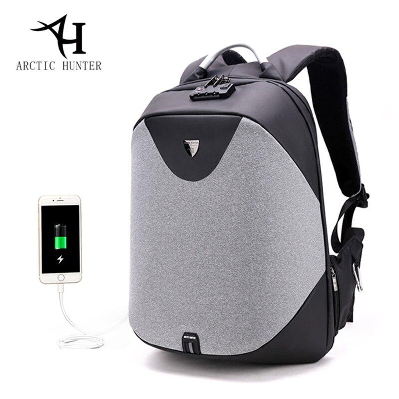Sacs à dos pour hommes ARCTIC HUNTER Bolsa Mochila pour ordinateur portable serrure Anti-vol sac à dos USB Charge sacs à dos scolaires pour adolescents