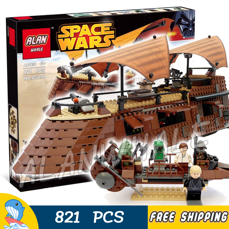 821pcs Space Wars Jabba's Sail Battleship Desert skiff 05090 Model Building Blocks Assemble Toys Brick Game Compatible With Lego