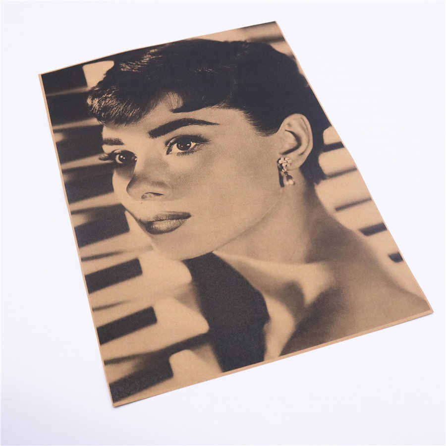 Audrey Hepburn Vintage Classic Photo Nostalgic Kraft Paper Vintage Poster Wall Stickers Adornment Movie Posters