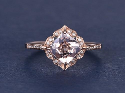 4082be943 princess cut pink morganite Engagement ring 14k rose gold diamond bridal ring  milgrain wedding band,antique floral retro vintage