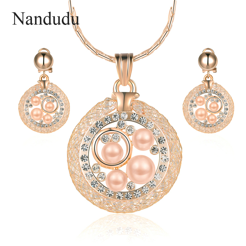 Nandudu Rose Gold Color Imitation Pearl Pendant Necklace Earrings Jewelry Sets for Women Anniversary Luxury Jewelry CN285 nandudu fashion necklace rose wire mesh flower crystal pearl pendant necklaces gift for women cn165