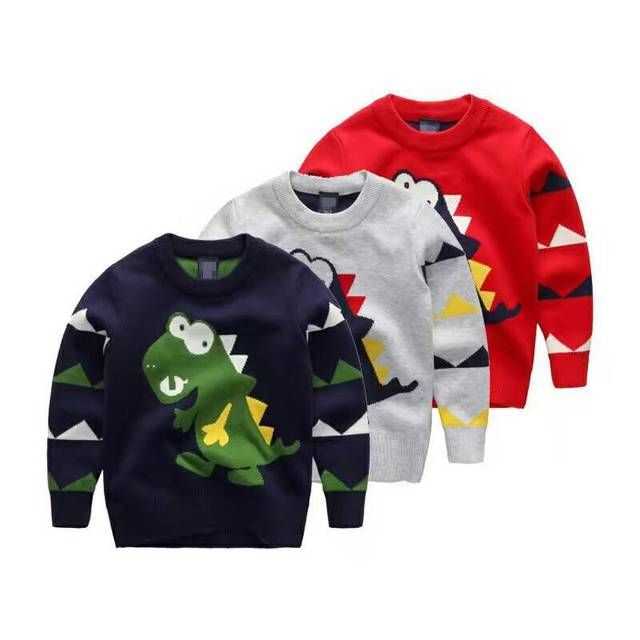 New Infant Autumn Winter Baby Boys Children Toddler Cute Dinosaur Sweater Pullover Tops Clothes Sweaters Kids Clothing Wholesale