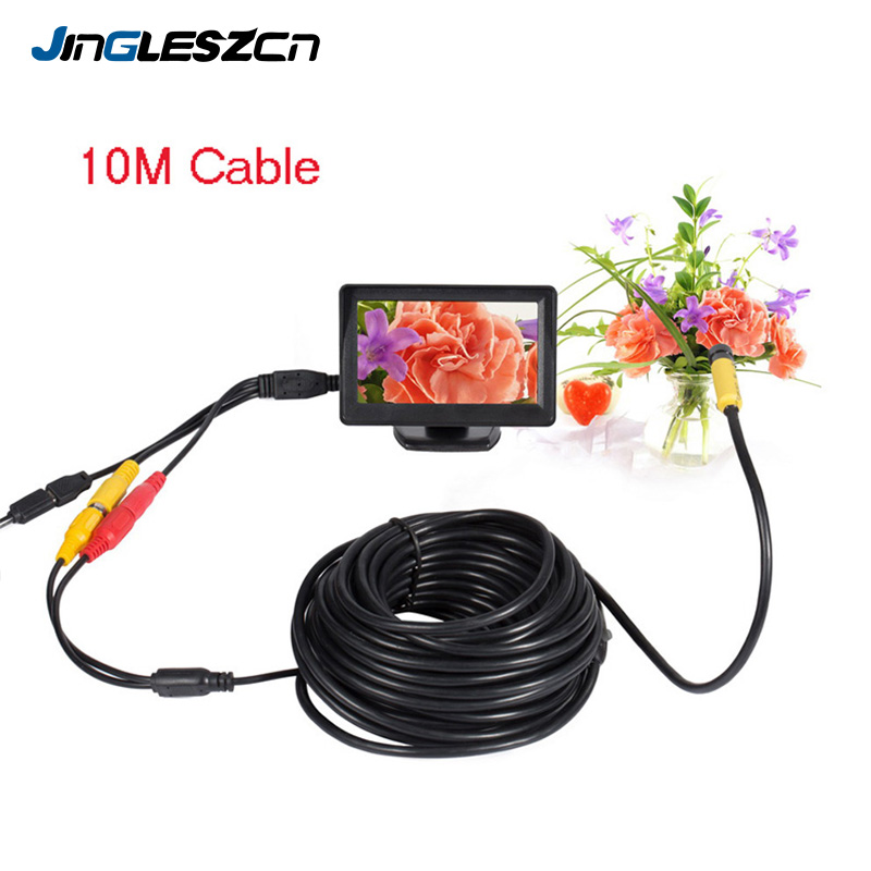 JINGLESZCN AV Endoscope 5V 10mm Dia 1m 5m 10m 15m 20m Borescope Inspection Camera 6 LED