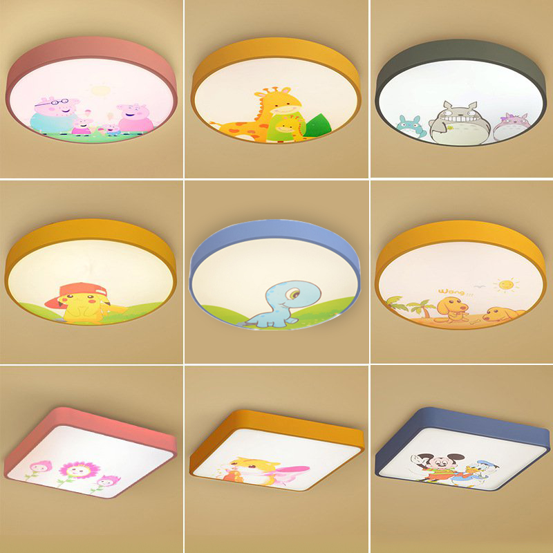 Modern Ultra-thin 5cm macaron remote led lamp bedroom creative cartoon children room lamp Ceiling Lights decoration light creative cartoon baby cute led act the role ofing boy room bedroom chandeliers children room roof plane light absorption