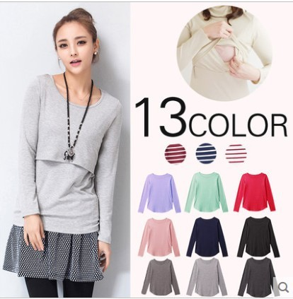 Spring maternity clothing pure cotton breastfeeding tops long sleeve nursing clothes o-neck nursing shirt maternity tops F434
