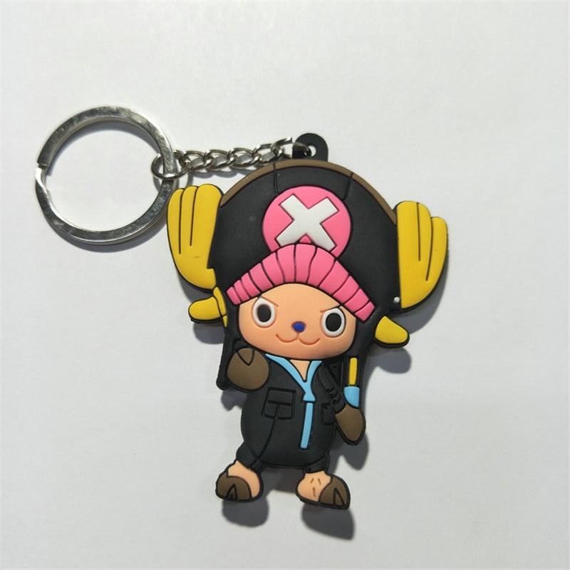 One Piece PVC Keychain Figures Toys Anime Cartoon Luffy Chopper Zoro Nico Nami  Sanji Key Bag Pendants Keyring Dolls 10pcslot (14)