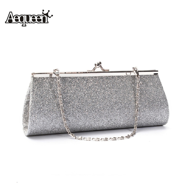 Aequeen Woman Party Evening Bags 2018 Silver Wedding Handbag Women Bling Clutch Shoulder Banquet