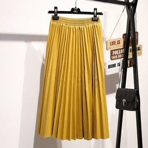 Image 2 - Surmiitro PU spódnica kobiety 2019 jesienno zimowa Midi długi koreański elegancki plisowana wysokiej talii skórzana spódnica kobiet linia spódnica biurowa