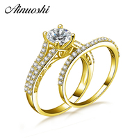 AINUOSHI 14K Solid Yellow Gold Engagement Wedding Rings Set 1ct Round Cut Sona Diamond Rows Drill Band 14K Gold Bridal Rings
