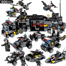 695pcs Building Blocks 8in1 Military Command Truck SWAT Soldiers Police DIY Bricks Childrens Educational Toy Compatible Legoing