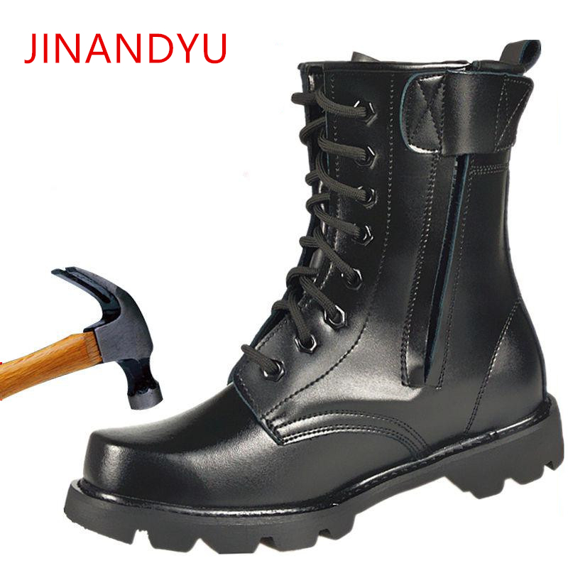 Steel Toe Men Military Boots Leather Safety Shoes For Men Spring Fashion Lace Up Black Ankle Platform Motorcycle Boots
