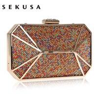 SEKUSA Colorful Diamonds Luxurious Women Evening Bag Rhineston Party Evening Clutch Purse Chain Shoulder Phone Key