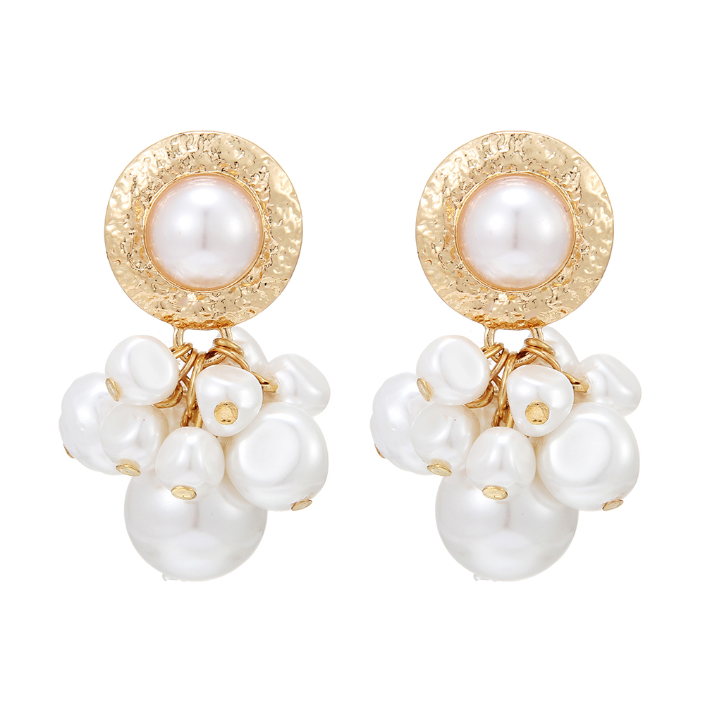 Statement Za Gold Color Metal Pearl Beads Drop Earrings For Women Geometric Dangle Earring Fashion Pearl Wedding Jewelry Gift