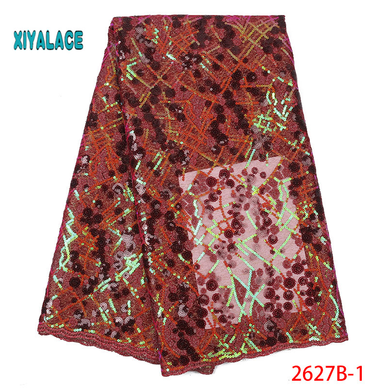 2019 Latest Nigerian African Lace Fabric High Quality For Wedding Party Dress French Tulle Organza Sequins Lace Fabric YA2627B-1