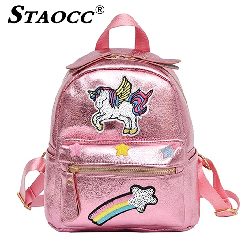 Women Pink Unicorn Backpack Sequins Holographic Leather Mochila Cartoon School  Bag For Girls Bookbag Female Small Travel Bagpack-in Backpacks from Luggage  ... 0abb06f98dc91