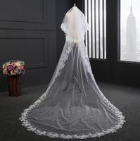 Real Photos High Quality 2 Tiers Blusher Cover Face Cathedral Lace Wedding Veil with Comb New Bridal Veil White Ivory with Comb