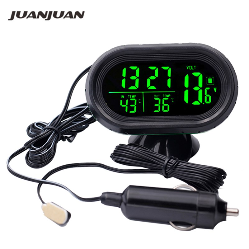 Car Auto LCD Digital Date Thermometer Temperature Voltage Meter Green
